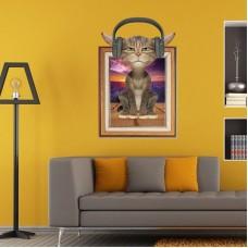 Наклейки на стену Животные Кот в наушниках 60х90 см