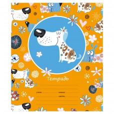 Тетрадь Забавные собачки, 12 листов, линейка узкая, А5, оранжевая