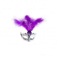 Аксессуар для карнавала - Маска с перьями, фиолетовая
