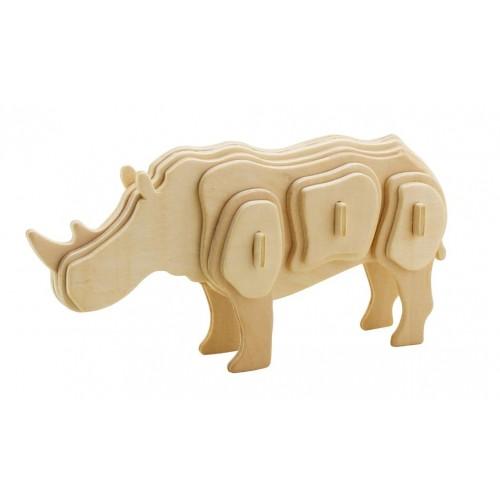 3D деревянный пазл Robotime Дикие животные - Носорог