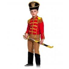 Карнавальный костюм Замш - Гусар с сапогами, красно-бежевый, размер 128-134 см