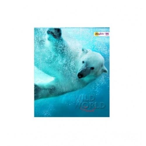 Тетрадь MagTaller А5 96 листов клетка, белый медведь
