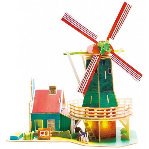3D деревянный пазл Robotime Серия Дома - Голландская ветряная мельница