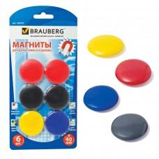 Магниты Brauberg диаметр 40 мм, 6 штук, цвет ассорти