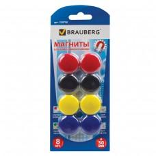 Магниты Brauberg диаметр 30 мм, 8 штук, цвет ассорти