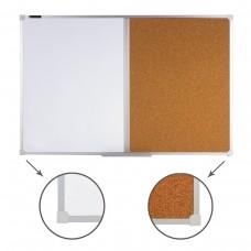 Доска комбинированная: магнитно-маркерная, пробковая Brauberg для объявлений, 60*90 см